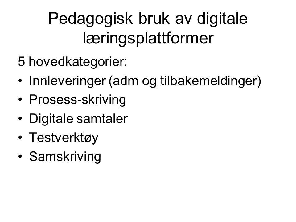 Pedagogisk bruk av digitale læringsplattformer 5 hovedkategorier: •Innleveringer (adm og tilbakemeldinger) •Prosess-skriving •Digitale samtaler •Testverktøy •Samskriving
