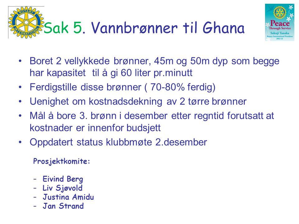 Sak 5. Vannbrønner til Ghana •Boret 2 vellykkede brønner, 45m og 50m dyp som begge har kapasitet til å gi 60 liter pr.minutt •Ferdigstille disse brønn