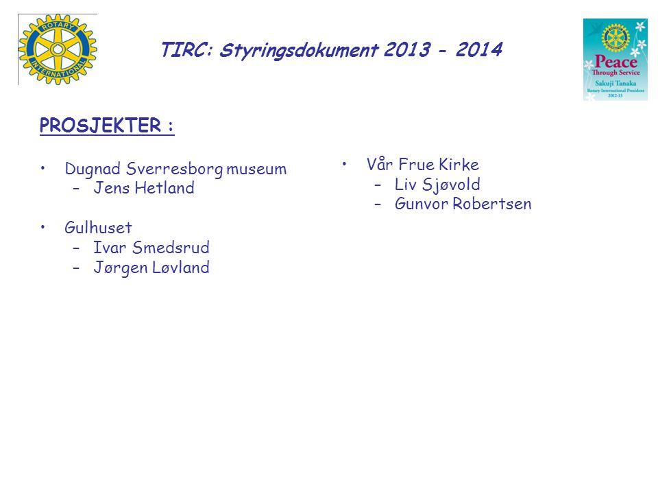 TIRC: Styringsdokument 2013 - 2014 PROSJEKTER : •Dugnad Sverresborg museum –Jens Hetland •Gulhuset –Ivar Smedsrud –Jørgen Løvland •Vår Frue Kirke –Liv