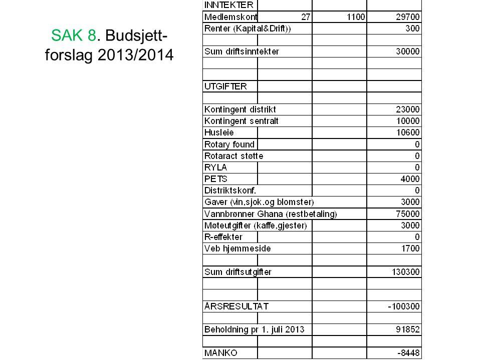 SAK 8. Budsjett- forslag 2013/2014
