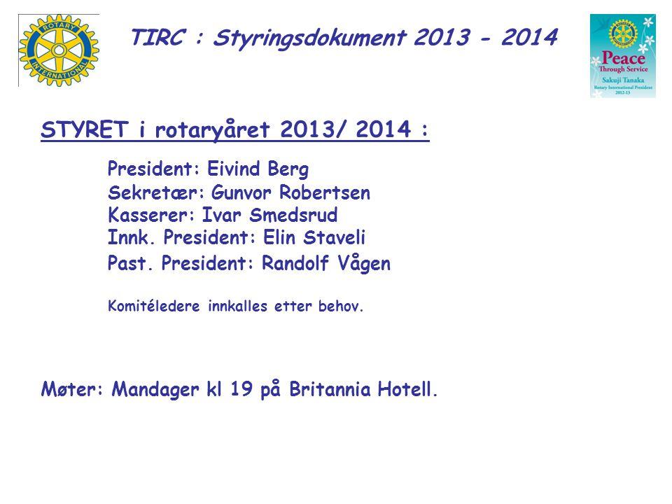 STYRET i rotaryåret 2013/ 2014 : President: Eivind Berg Sekretær: Gunvor Robertsen Kasserer: Ivar Smedsrud Innk. President: Elin Staveli Past. Preside
