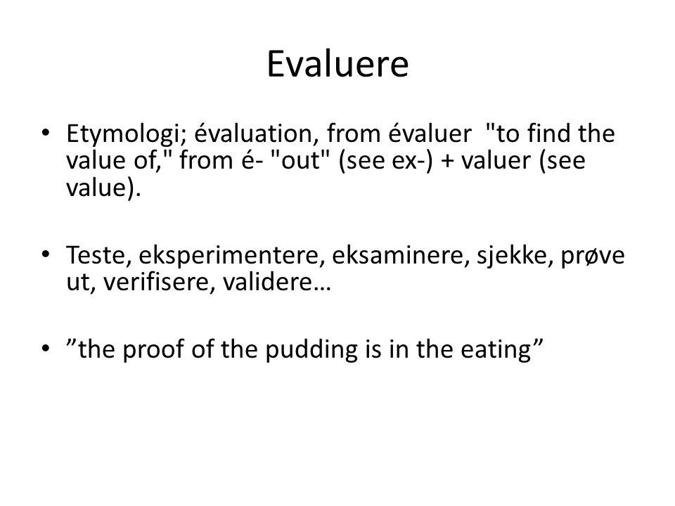 Evaluere • Etymologi; évaluation, from évaluer