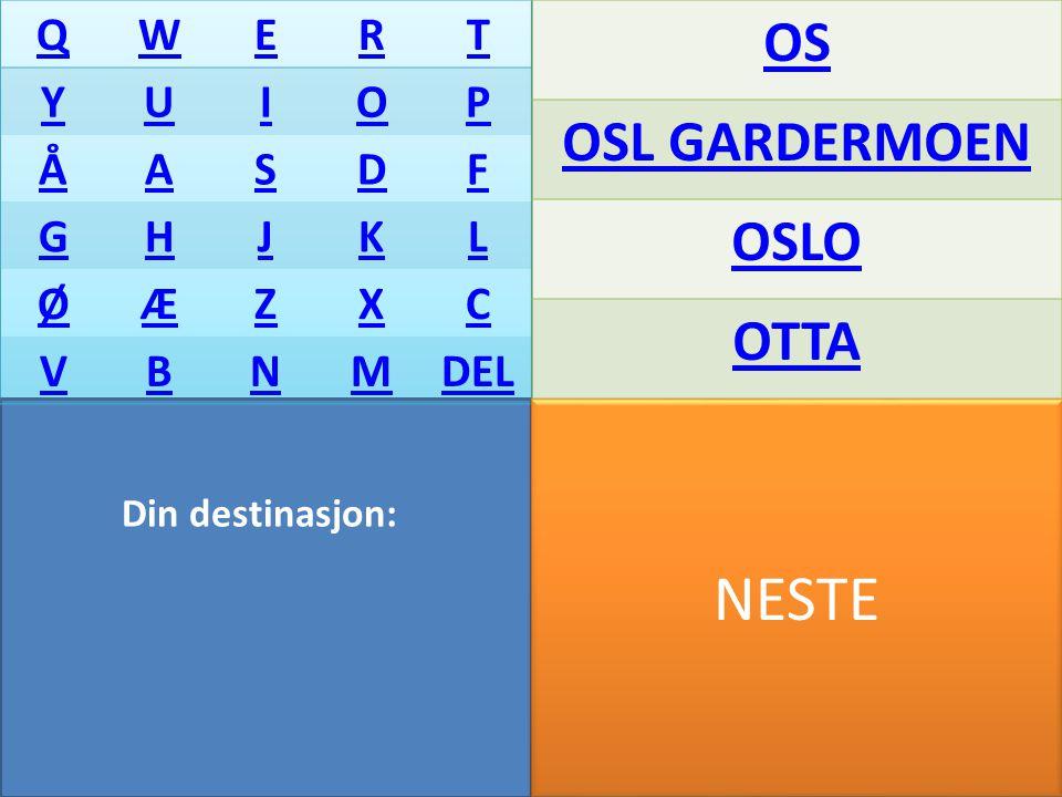 NESTE Din destinasjon: QWERT YUIOP ÅASDF GHJKL ØÆZXC VBNMDEL