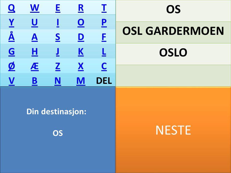 Din destinasjon: QWERT YUIOP ÅASDF GHJKL ØÆZXC VBNMDEL OTTA NESTE