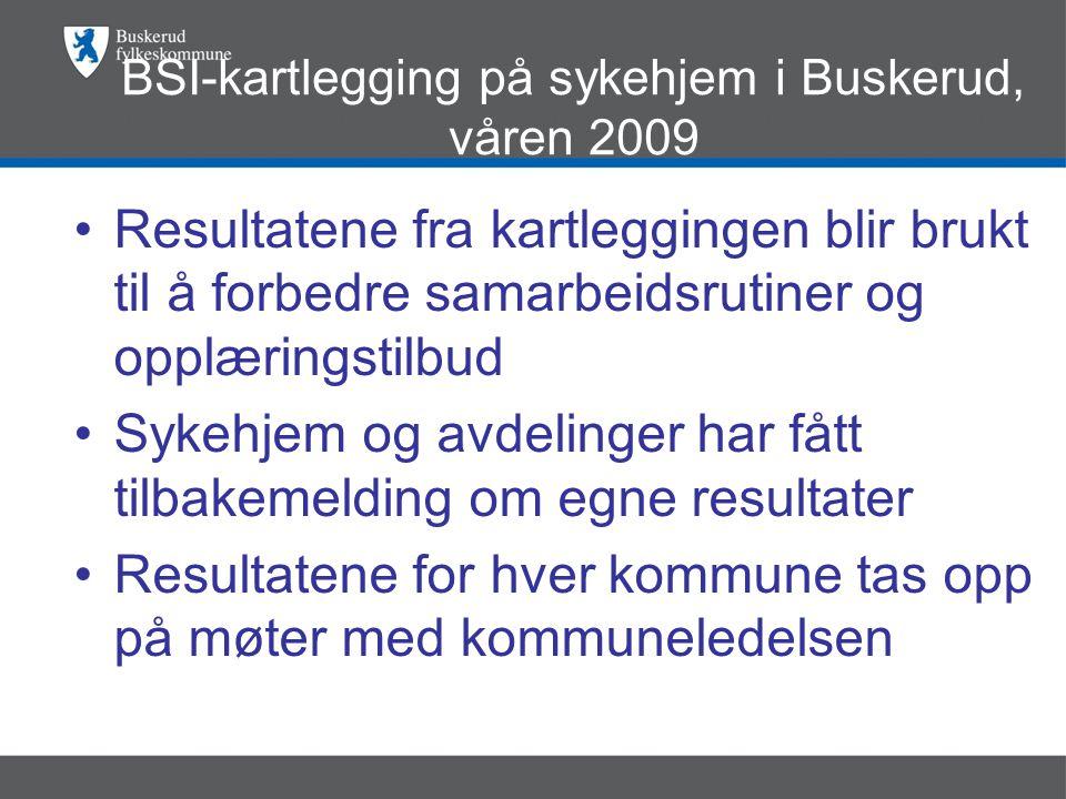 BSI-kartlegging på sykehjem i Buskerud, våren 2009 •Resultatene fra kartleggingen blir brukt til å forbedre samarbeidsrutiner og opplæringstilbud •Sykehjem og avdelinger har fått tilbakemelding om egne resultater •Resultatene for hver kommune tas opp på møter med kommuneledelsen