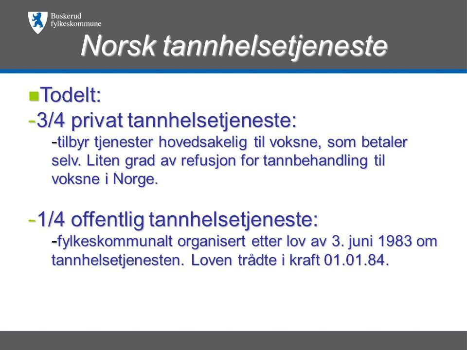 Norsk tannhelsetjeneste nTodelt: – 3/4 privat tannhelsetjeneste: – tilbyr tjenester hovedsakelig til voksne, som betaler selv.