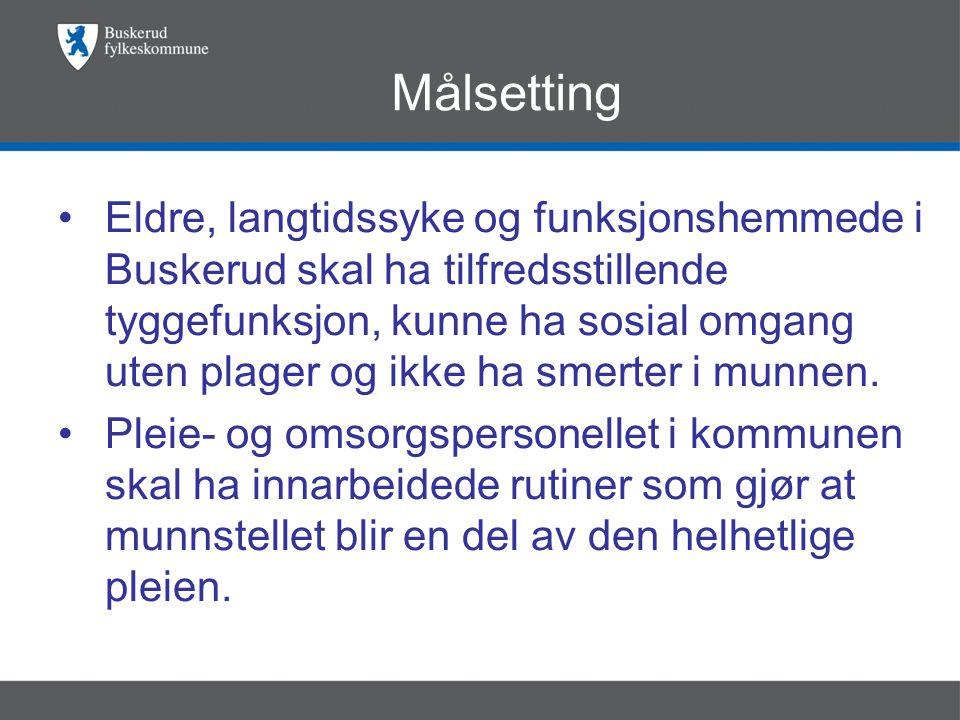 Målsetting •Eldre, langtidssyke og funksjonshemmede i Buskerud skal ha tilfredsstillende tyggefunksjon, kunne ha sosial omgang uten plager og ikke ha smerter i munnen.