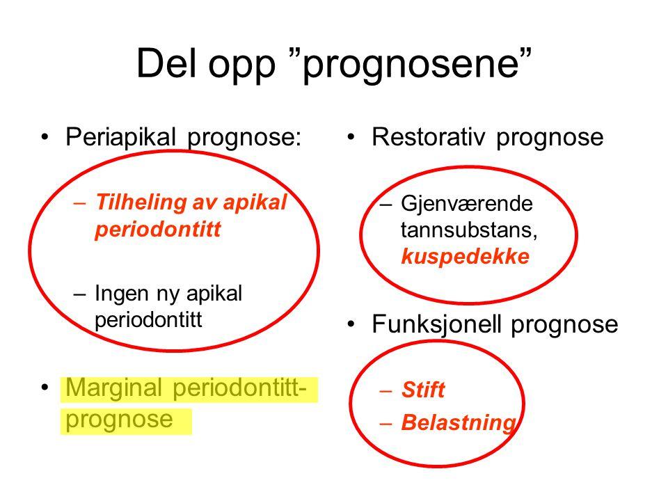 """Del opp """"prognosene"""" •Periapikal prognose: –Tilheling av apikal periodontitt –Ingen ny apikal periodontitt •Marginal periodontitt- prognose •Restorati"""