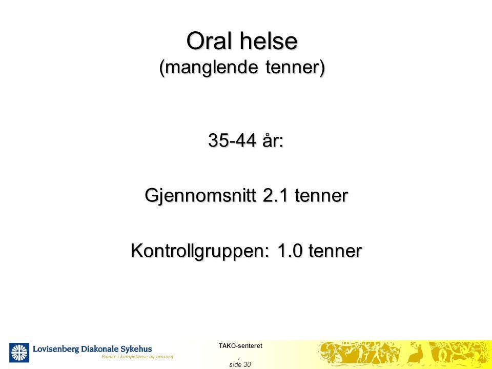 TAKO-senteret, side 30 Oral helse (manglende tenner) 35-44 år: Gjennomsnitt 2.1 tenner Kontrollgruppen: 1.0 tenner