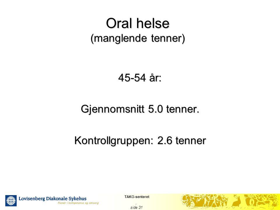 TAKO-senteret, side 31 Oral helse (manglende tenner) 45-54 år: Gjennomsnitt 5.0 tenner. Kontrollgruppen: 2.6 tenner