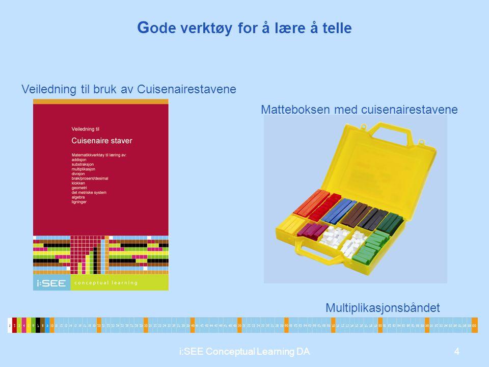 G ode verktøy for å lære å telle Veiledning til bruk av Cuisenairestavene Matteboksen med cuisenairestavene Multiplikasjonsbåndet 4i:SEE Conceptual Le