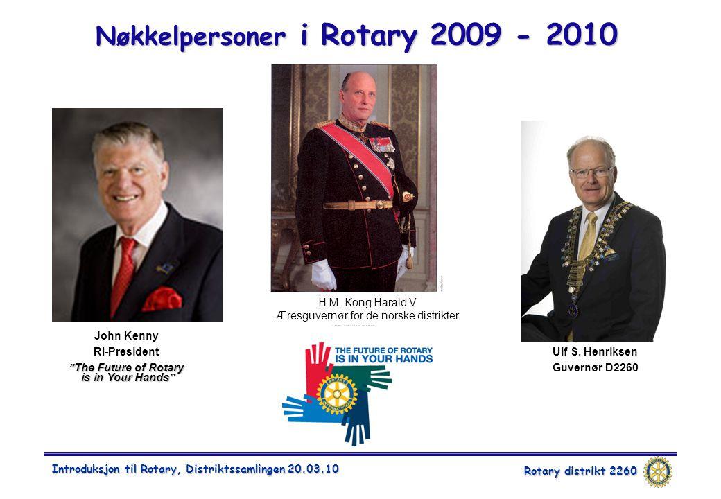Rotary distrikt 2260 Introduksjon til Rotary, Distriktssamlingen 20.03.10 Nøkkelpersoner i Rotary 2009 - 2010 John Kenny RI-President The Future of Rotary is in Your Hands Åge Bjor Fungerende DG H.M.