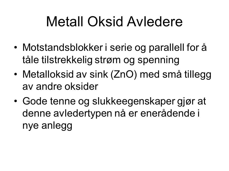 Metall Oksid Avledere •Motstandsblokker i serie og parallell for å tåle tilstrekkelig strøm og spenning •Metalloksid av sink (ZnO) med små tillegg av