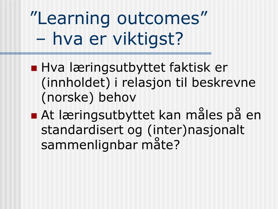 Learning outcomes – hva er viktigst.