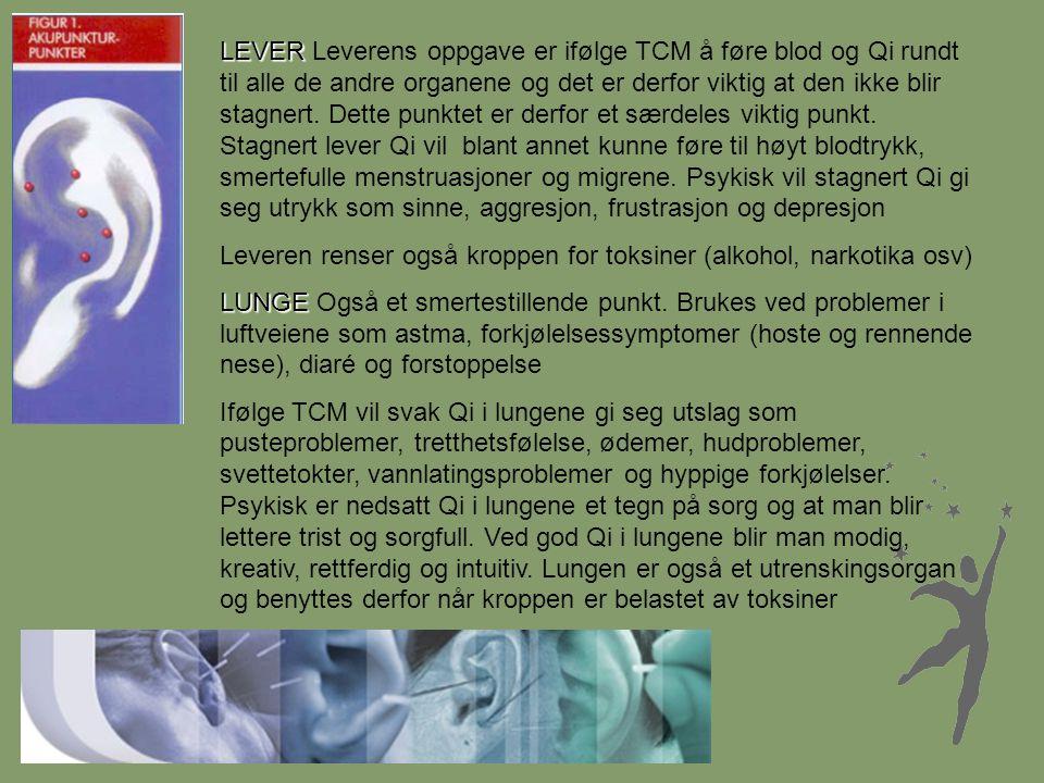 LEVER LEVER Leverens oppgave er ifølge TCM å føre blod og Qi rundt til alle de andre organene og det er derfor viktig at den ikke blir stagnert. Dette