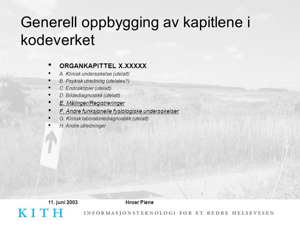 Hroar Piene11. juni 2003 Generell oppbygging av kapitlene i kodeverket • ORGANKAPITTEL X.XXXXX • A. Klinisk undersøkelse (utelatt) • B. Psykisk utredn