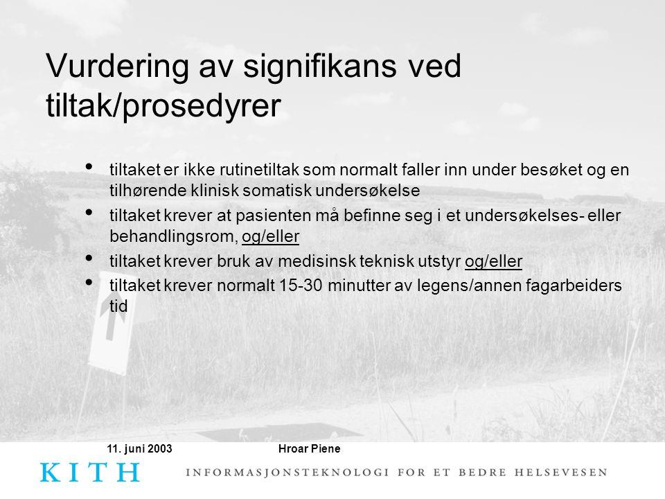Hroar Piene11. juni 2003 Vurdering av signifikans ved tiltak/prosedyrer • tiltaket er ikke rutinetiltak som normalt faller inn under besøket og en til