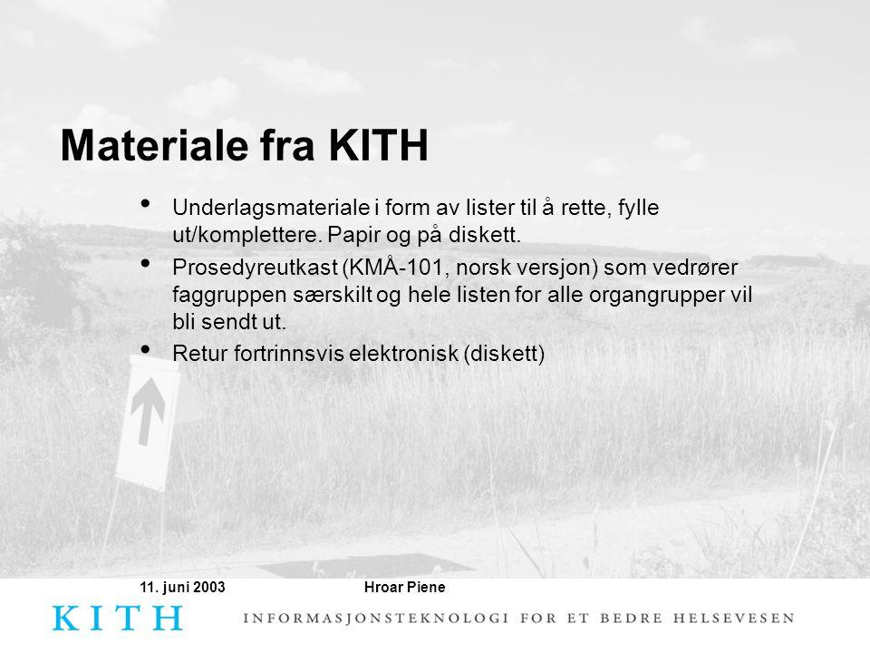 Hroar Piene11. juni 2003 Materiale fra KITH • Underlagsmateriale i form av lister til å rette, fylle ut/komplettere. Papir og på diskett. • Prosedyreu