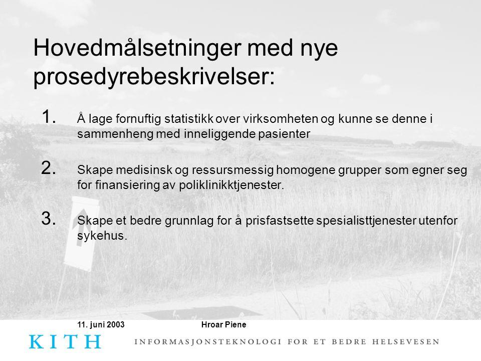 Hroar Piene11. juni 2003 Hovedmålsetninger med nye prosedyrebeskrivelser: 1. Å lage fornuftig statistikk over virksomheten og kunne se denne i sammenh