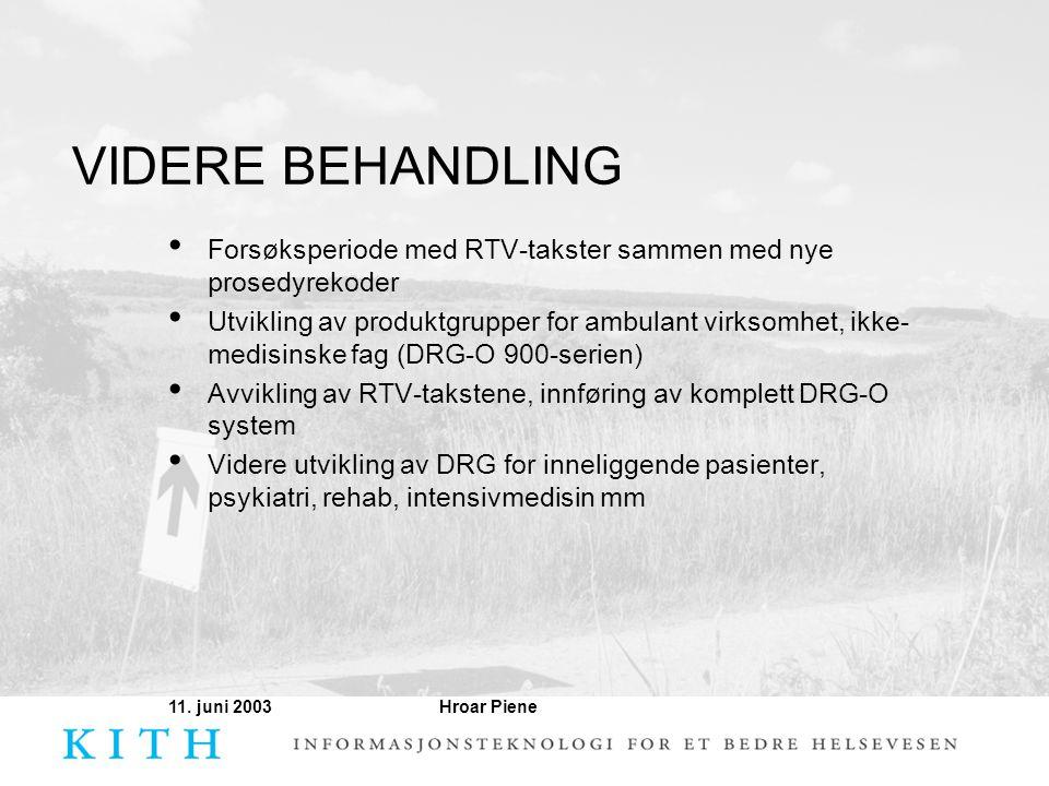 Hroar Piene11. juni 2003 VIDERE BEHANDLING • Forsøksperiode med RTV-takster sammen med nye prosedyrekoder • Utvikling av produktgrupper for ambulant v