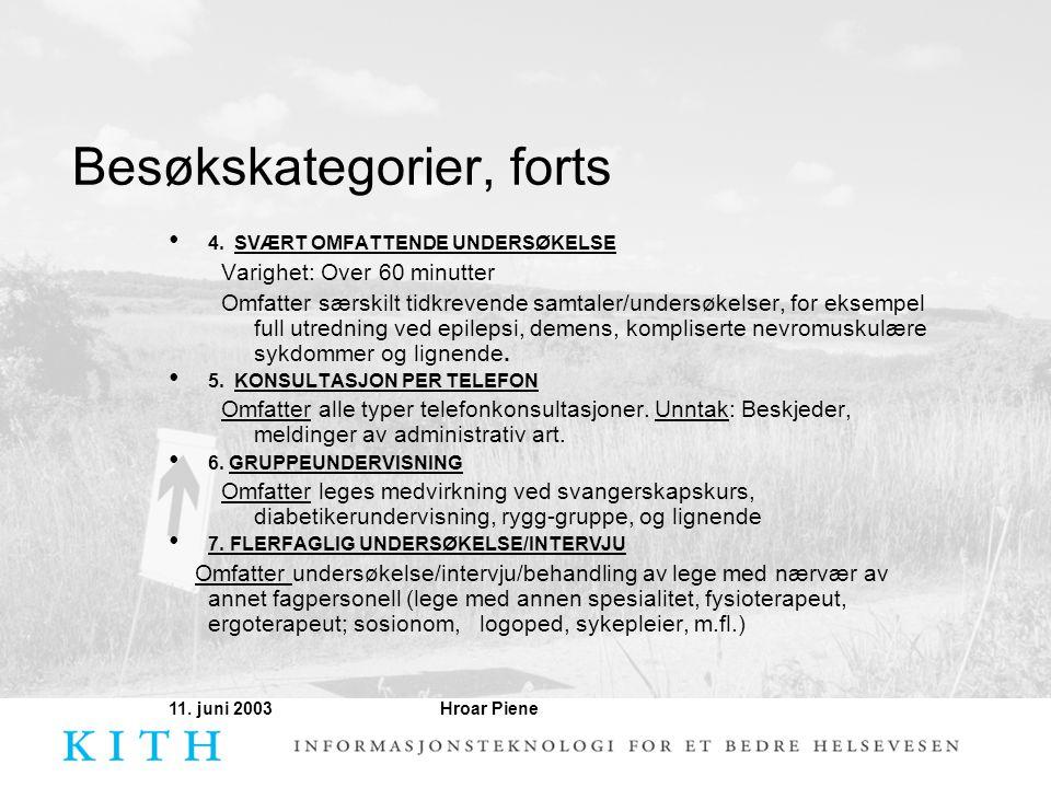 Hroar Piene11. juni 2003 Besøkskategorier, forts • 4. SVÆRT OMFATTENDE UNDERSØKELSE Varighet: Over 60 minutter Omfatter særskilt tidkrevende samtaler/