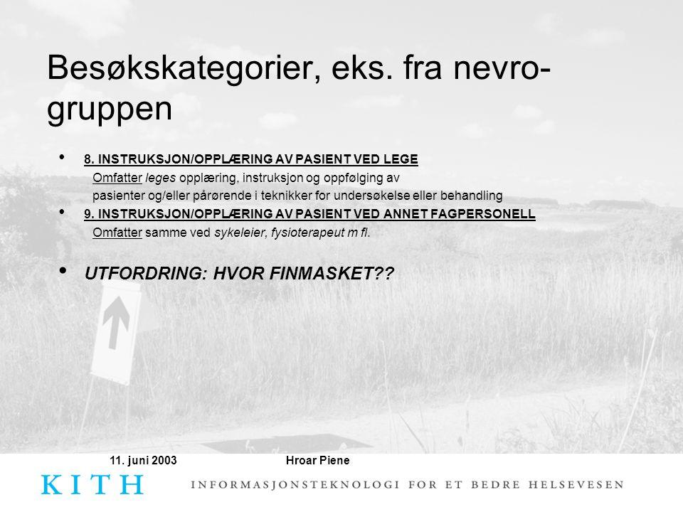 Hroar Piene11. juni 2003 Besøkskategorier, eks. fra nevro- gruppen • 8. INSTRUKSJON/OPPLÆRING AV PASIENT VED LEGE Omfatter leges opplæring, instruksjo