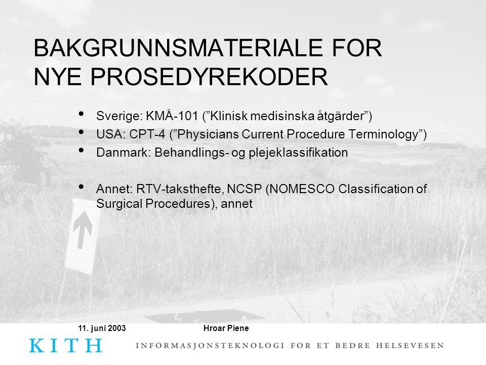 """Hroar Piene11. juni 2003 BAKGRUNNSMATERIALE FOR NYE PROSEDYREKODER • Sverige: KMÅ-101 (""""Klinisk medisinska åtgärder"""") • USA: CPT-4 (""""Physicians Curren"""