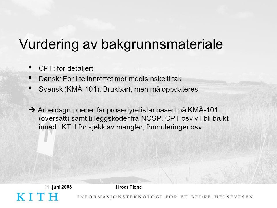 Hroar Piene11. juni 2003 Vurdering av bakgrunnsmateriale • CPT: for detaljert • Dansk: For lite innrettet mot medisinske tiltak • Svensk (KMÅ-101): Br