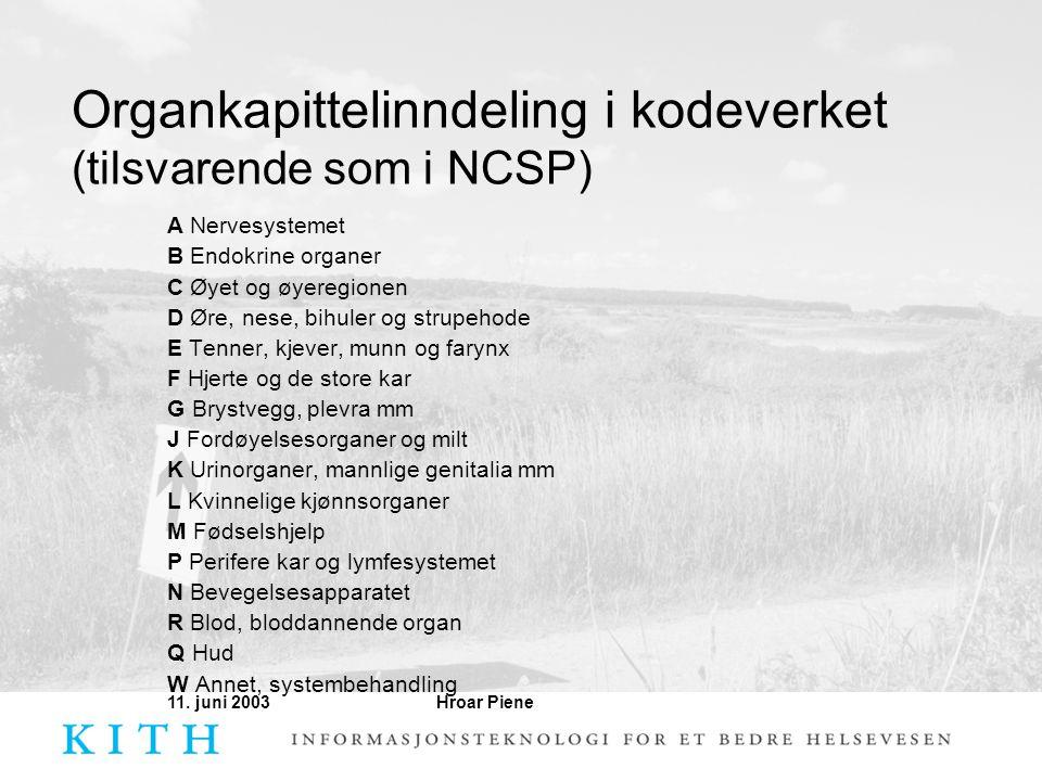 Hroar Piene11. juni 2003 Organkapittelinndeling i kodeverket (tilsvarende som i NCSP) A Nervesystemet B Endokrine organer C Øyet og øyeregionen D Øre,