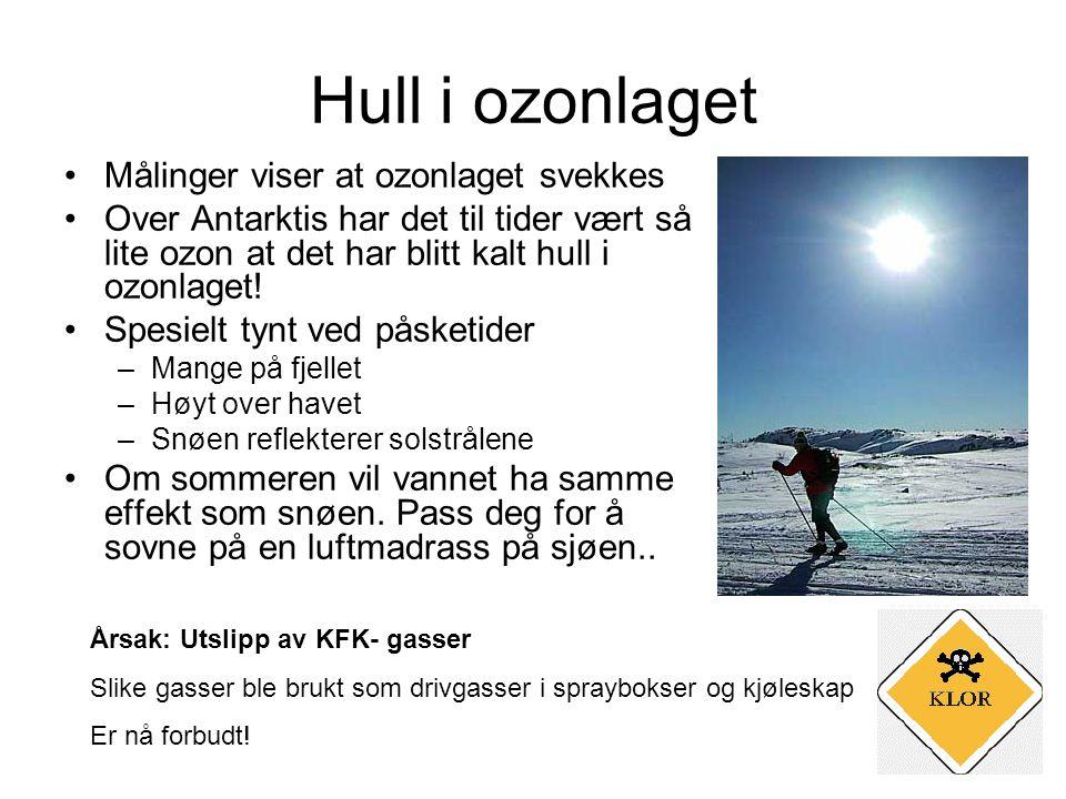 Hull i ozonlaget •Målinger viser at ozonlaget svekkes •Over Antarktis har det til tider vært så lite ozon at det har blitt kalt hull i ozonlaget.