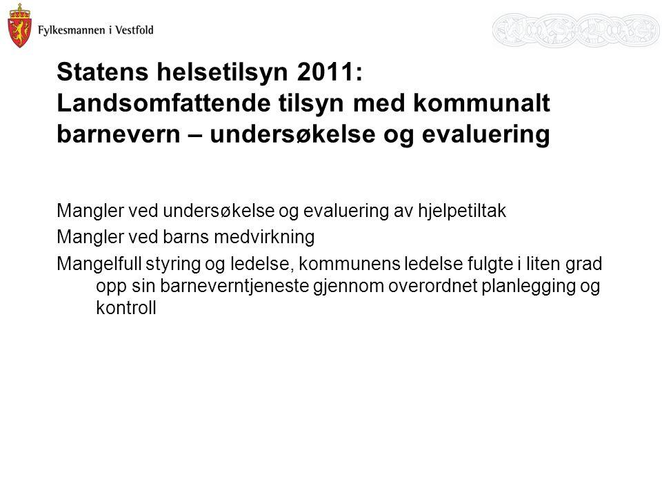 Statens helsetilsyn 2011: Landsomfattende tilsyn med kommunalt barnevern – undersøkelse og evaluering Mangler ved undersøkelse og evaluering av hjelpe