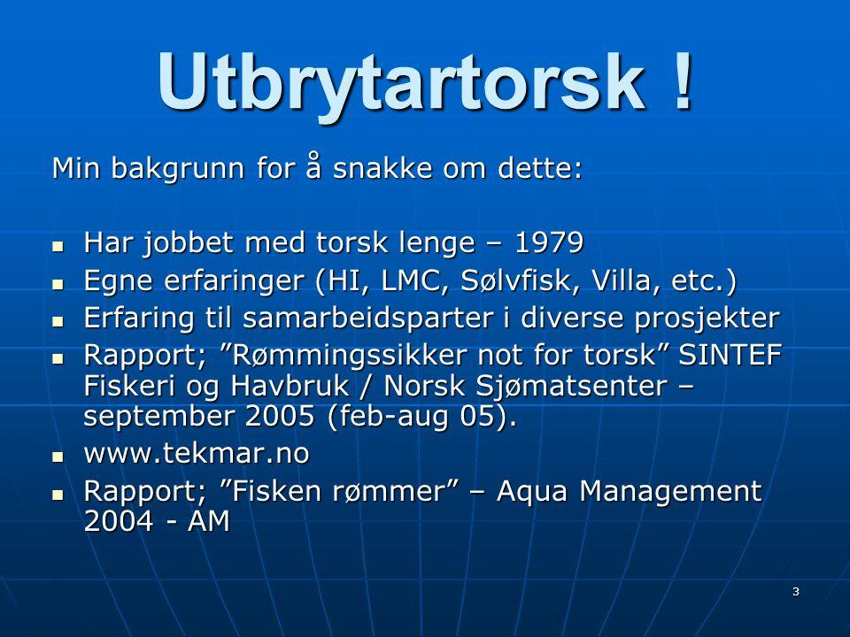 3 Utbrytartorsk ! Min bakgrunn for å snakke om dette:  Har jobbet med torsk lenge – 1979  Egne erfaringer (HI, LMC, Sølvfisk, Villa, etc.)  Erfarin