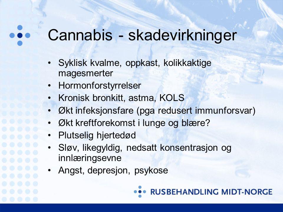 Cannabis - skadevirkninger •Syklisk kvalme, oppkast, kolikkaktige magesmerter •Hormonforstyrrelser •Kronisk bronkitt, astma, KOLS •Økt infeksjonsfare (pga redusert immunforsvar) •Økt kreftforekomst i lunge og blære.