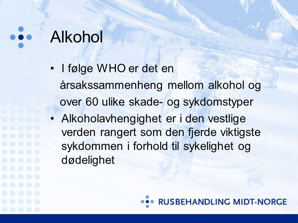 Alkohol •I følge WHO er det en årsakssammenheng mellom alkohol og over 60 ulike skade- og sykdomstyper •Alkoholavhengighet er i den vestlige verden rangert som den fjerde viktigste sykdommen i forhold til sykelighet og dødelighet