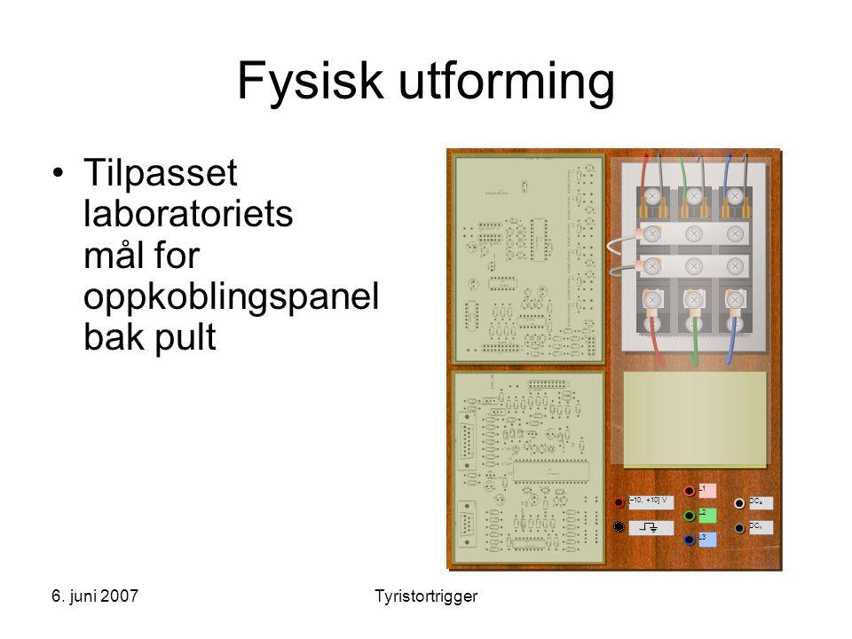 6. juni 2007Tyristortrigger Fysisk utforming •Tilpasset laboratoriets mål for oppkoblingspanel bak pult L1 L2 L3 DC a DC k [  10, +10] V