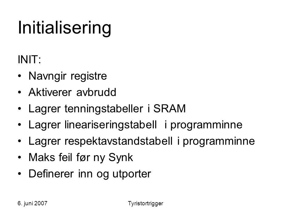 6. juni 2007Tyristortrigger Initialisering INIT: •Navngir registre •Aktiverer avbrudd •Lagrer tenningstabeller i SRAM •Lagrer lineariseringstabell i p