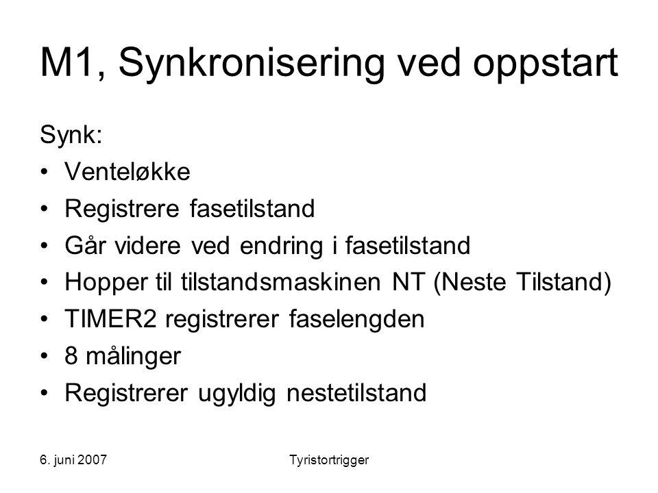 6. juni 2007Tyristortrigger M1, Synkronisering ved oppstart Synk: •Venteløkke •Registrere fasetilstand •Går videre ved endring i fasetilstand •Hopper