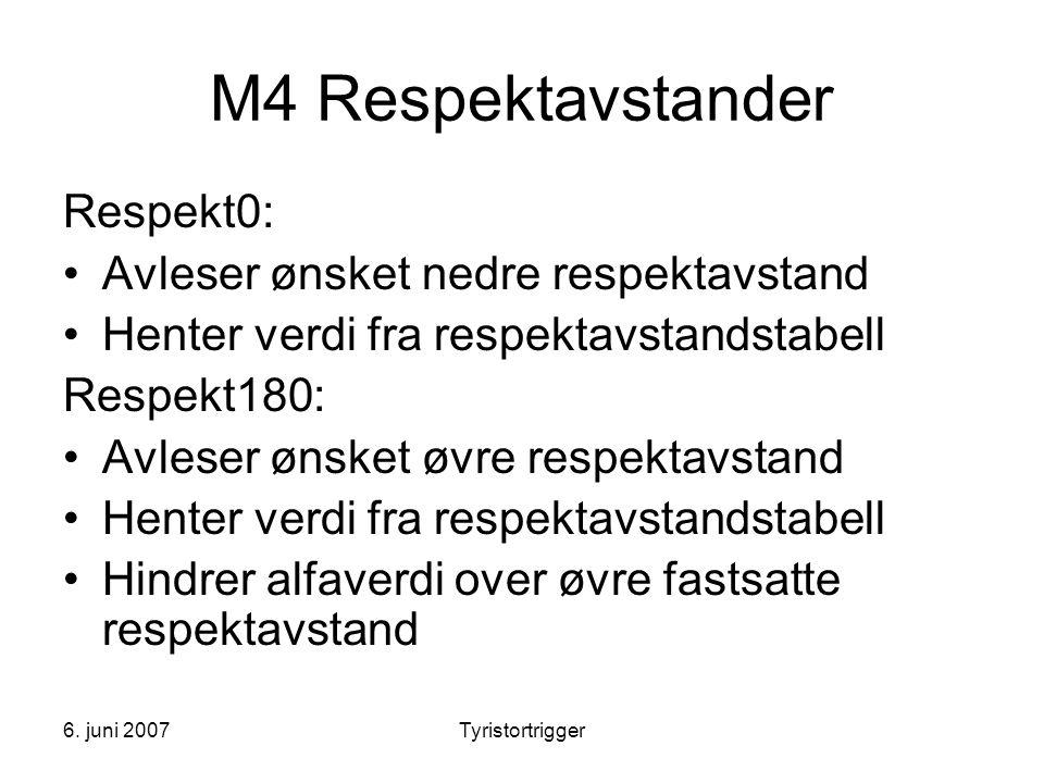 6. juni 2007Tyristortrigger M4 Respektavstander Respekt0: •Avleser ønsket nedre respektavstand •Henter verdi fra respektavstandstabell Respekt180: •Av