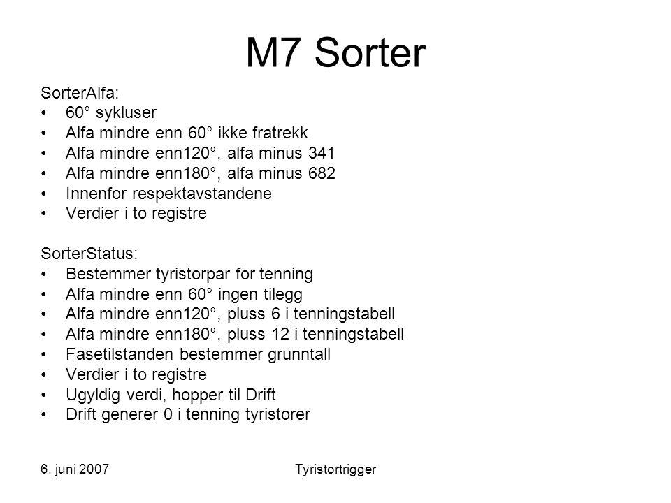 6. juni 2007Tyristortrigger M7 Sorter SorterAlfa: •60° sykluser •Alfa mindre enn 60° ikke fratrekk •Alfa mindre enn120°, alfa minus 341 •Alfa mindre e