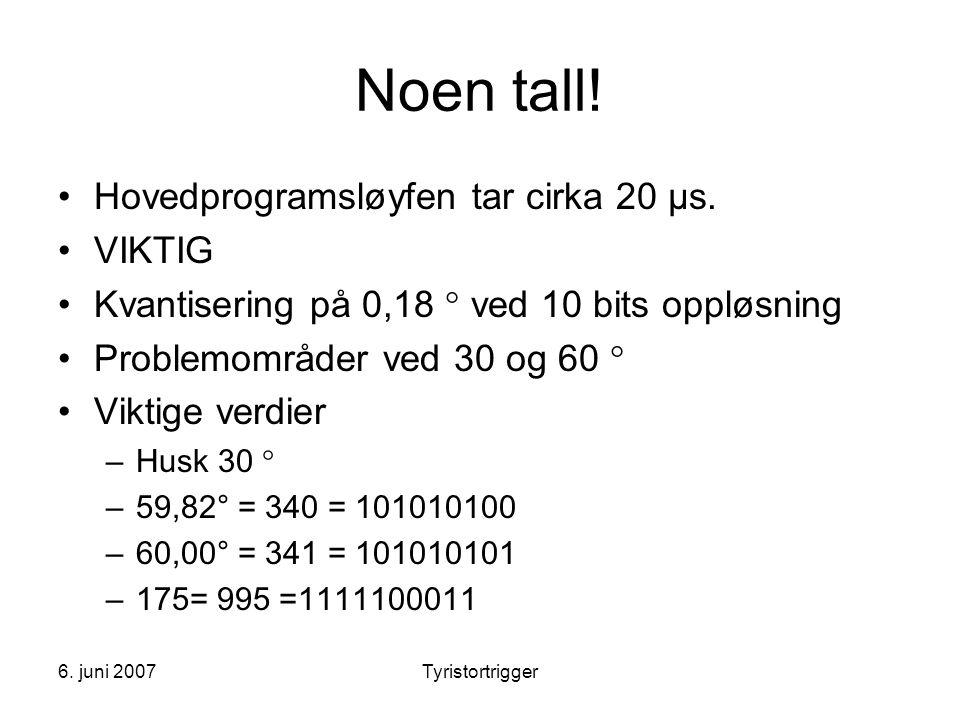 6. juni 2007Tyristortrigger Noen tall! •Hovedprogramsløyfen tar cirka 20 μs. •VIKTIG •Kvantisering på 0,18  ved 10 bits oppløsning •Problemområder ve