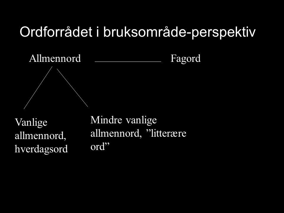 """Ordforrådet i bruksområde-perspektiv Allmennord Fagord Vanlige allmennord, hverdagsord Mindre vanlige allmennord, """"litterære ord"""""""
