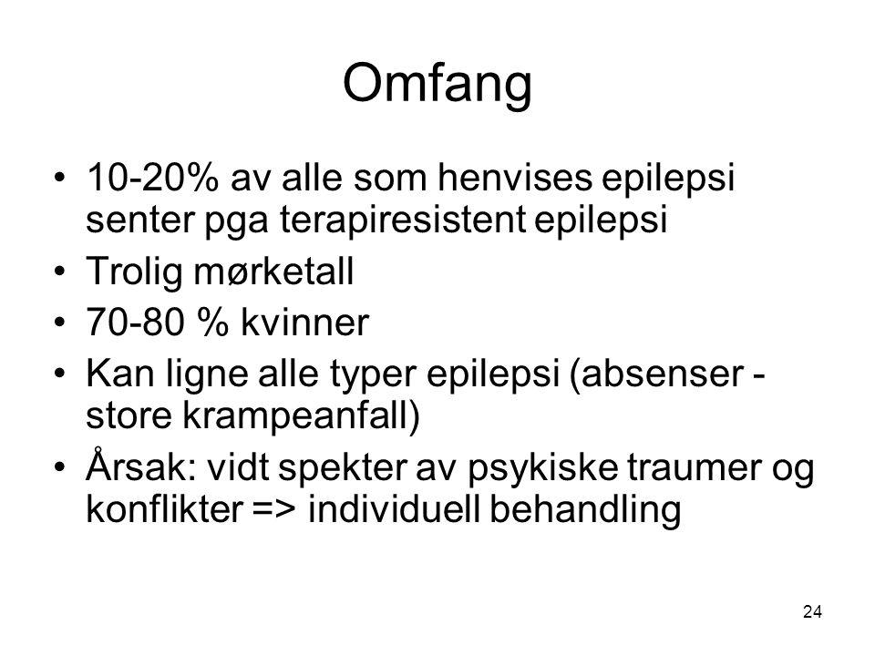 24 Omfang •10-20% av alle som henvises epilepsi senter pga terapiresistent epilepsi •Trolig mørketall •70-80 % kvinner •Kan ligne alle typer epilepsi