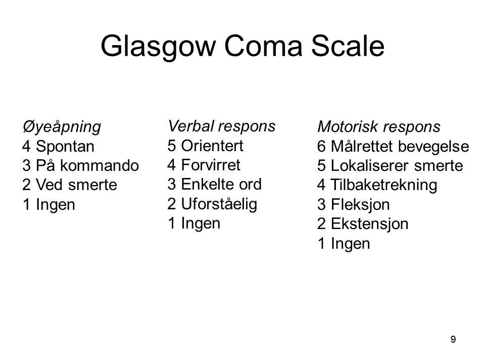 99 Glasgow Coma Scale Øyeåpning 4 Spontan 3 På kommando 2 Ved smerte 1 Ingen Verbal respons 5 Orientert 4 Forvirret 3 Enkelte ord 2 Uforståelig 1 Inge
