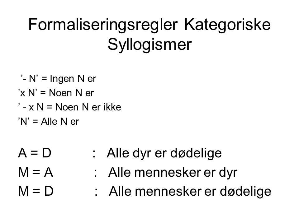 Formaliseringsregler Kategoriske Syllogismer '- N' = Ingen N er 'x N' = Noen N er ' - x N = Noen N er ikke 'N' = Alle N er A = D : Alle dyr er dødelig