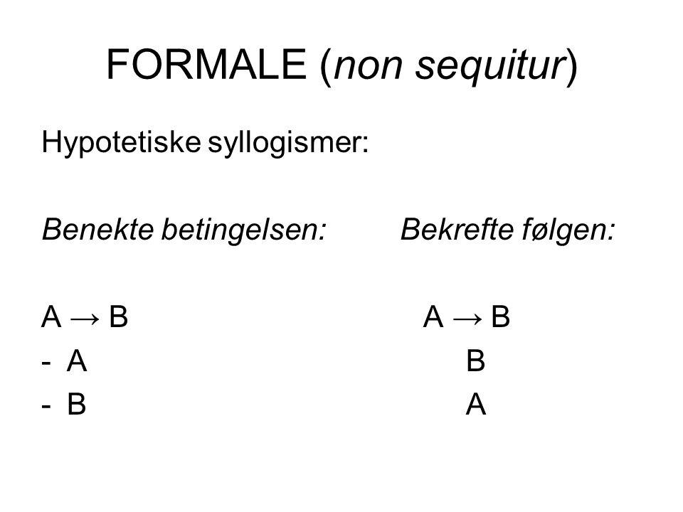 FORMALE (non sequitur) Hypotetiske syllogismer: Benekte betingelsen: Bekrefte følgen: A → B -A B -B A