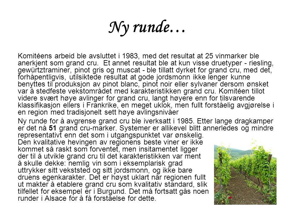 Ny runde… Komitéens arbeid ble avsluttet i 1983, med det resultat at 25 vinmarker ble anerkjent som grand cru.