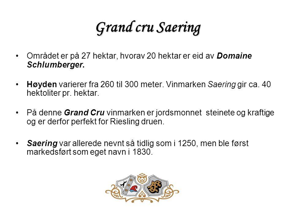 Grand cru Saering •Området er på 27 hektar, hvorav 20 hektar er eid av Domaine Schlumberger.