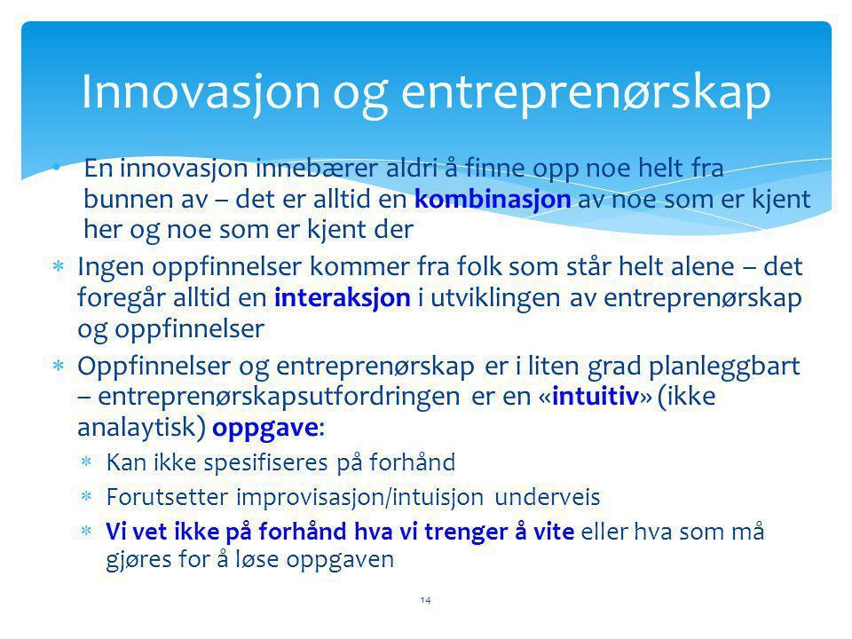 • En innovasjon innebærer aldri å finne opp noe helt fra bunnen av – det er alltid en kombinasjon av noe som er kjent her og noe som er kjent der  Ingen oppfinnelser kommer fra folk som står helt alene – det foregår alltid en interaksjon i utviklingen av entreprenørskap og oppfinnelser  Oppfinnelser og entreprenørskap er i liten grad planleggbart – entreprenørskapsutfordringen er en «intuitiv» (ikke analaytisk) oppgave:  Kan ikke spesifiseres på forhånd  Forutsetter improvisasjon/intuisjon underveis  Vi vet ikke på forhånd hva vi trenger å vite eller hva som må gjøres for å løse oppgaven Innovasjon og entreprenørskap 14