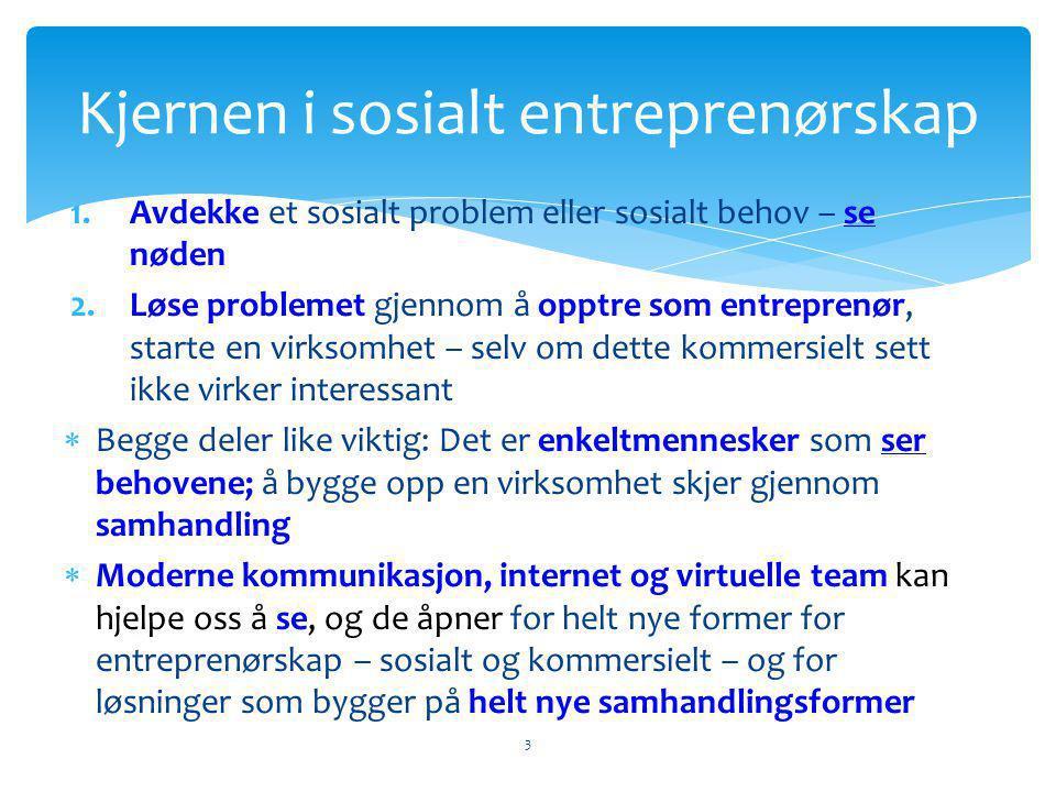 1.Avdekke et sosialt problem eller sosialt behov – se nøden 2.Løse problemet gjennom å opptre som entreprenør, starte en virksomhet – selv om dette kommersielt sett ikke virker interessant  Begge deler like viktig: Det er enkeltmennesker som ser behovene; å bygge opp en virksomhet skjer gjennom samhandling  Moderne kommunikasjon, internet og virtuelle team kan hjelpe oss å se, og de åpner for helt nye former for entreprenørskap – sosialt og kommersielt – og for løsninger som bygger på helt nye samhandlingsformer Kjernen i sosialt entreprenørskap 3