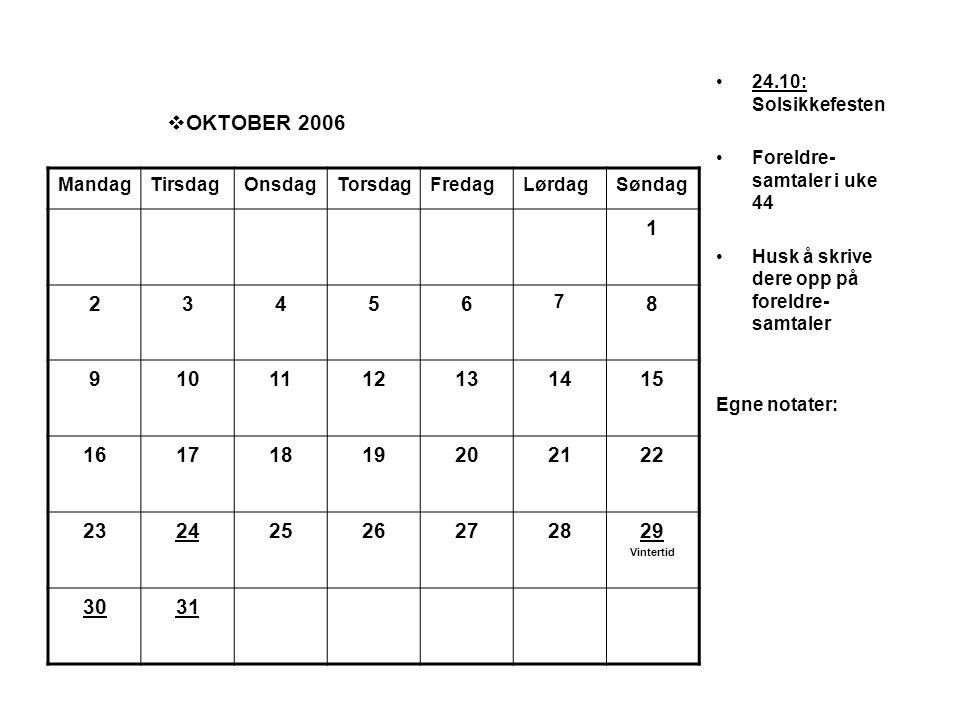  OKTOBER 2006 •24.10: Solsikkefesten •Foreldre- samtaler i uke 44 •Husk å skrive dere opp på foreldre- samtaler Egne notater: MandagTirsdagOnsdagTors